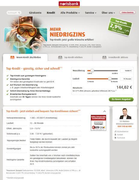 Norisbank Kredit Top Kredit Und Festpreiskredit Mein Onlinekreditde